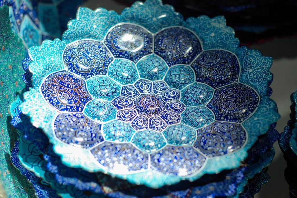 Perskie Irańskie talerze niebieskie