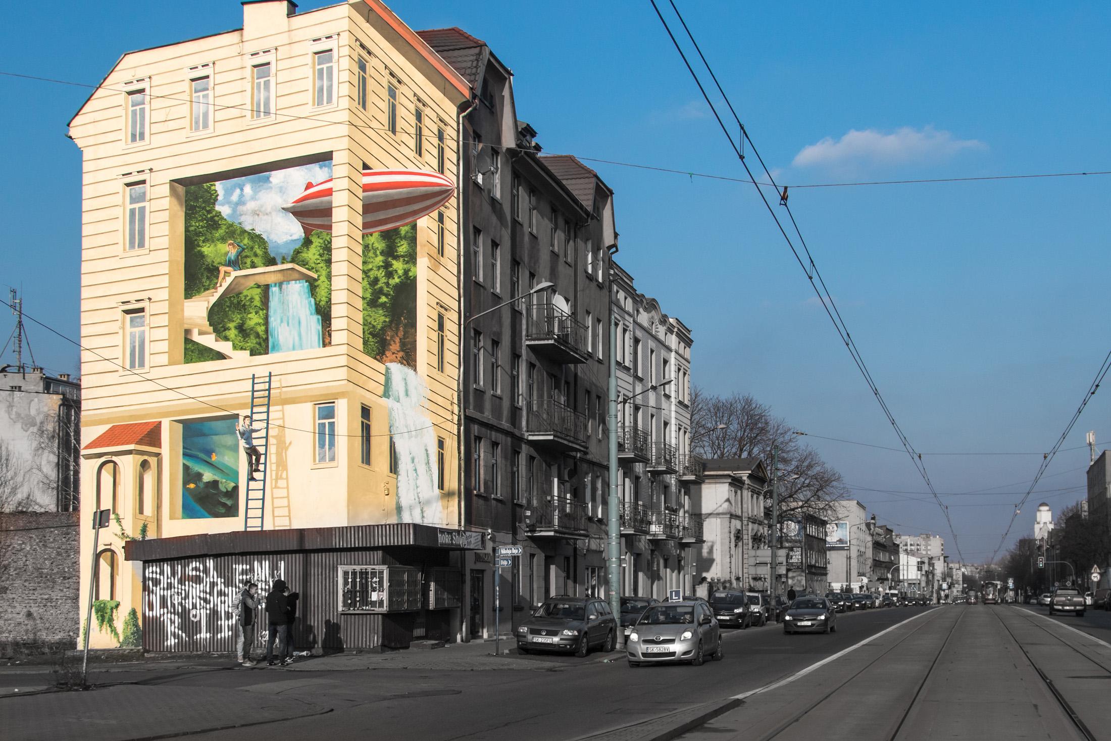 Sterowiec mural street art festiwal