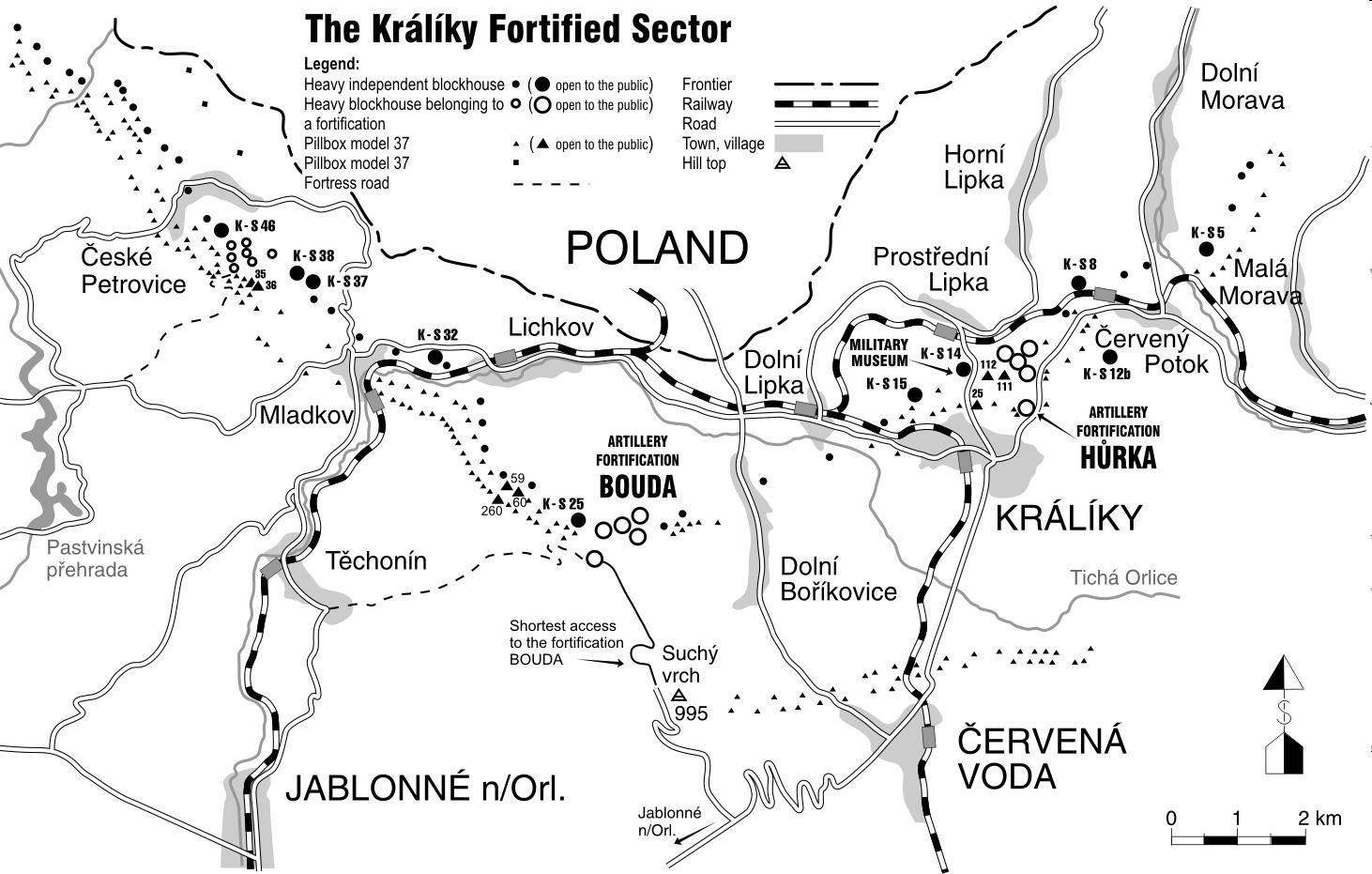Mapa pokazująca rozmieszczenie wszystkich bunkrów należących do systemu Kraliky. Źródło: boudamuseum.com